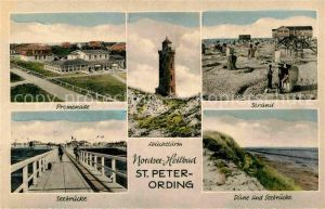 AK / Ansichtskarte St Peter Ording Leuchtturm Strand Seebruecke Promenade Kat. Sankt Peter Ording