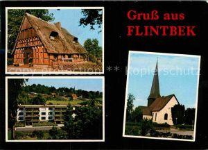 AK / Ansichtskarte Flintbek Kirche Reetdachhaus Kat. Flintbek