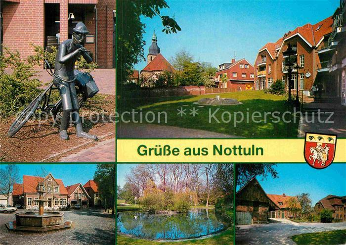AK / Ansichtskarte Nottuln Brunnen Skulptur mit Fahrrad Kat. Nottuln