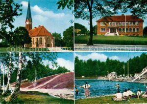 AK / Ansichtskarte Schneverdingen Kirche Rathaus Heidebluetenplatz Quellenbad Kat. Schneverdingen