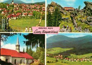AK / Ansichtskarte Lam Oberpfalz Ortsansicht mit Kirche Schutzhaus Bayerischer Wald Kat. Lam