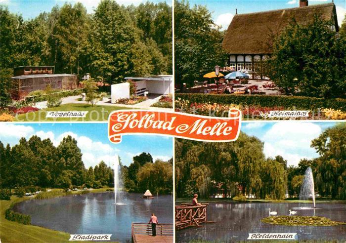 AK / Ansichtskarte Bad Melle Osnabrueck Vogelhaus Heimathof Heldenhain Schwanenteich Fontaene Stadtpark Kat. Melle