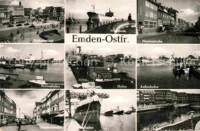 AK / Ansichtskarte Emden Ostfriesland Rathausplatz Westmole Neutorstrasse Binnenhafen Hafen Aussenhafen Neutorstrasse Binnenhafen Am Delft Kat. Emden