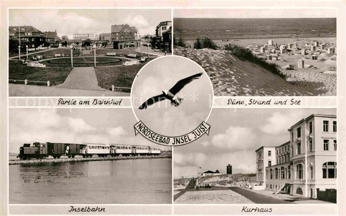 AK / Ansichtskarte Insel Juist Bahnhofspartie Duenen und Strand Inselbahn Kurhaus Kat. Norderney