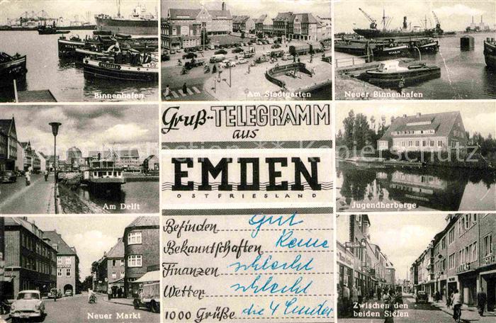 AK / Ansichtskarte Emden Ostfriesland Binnenhafen Stadtgarten Neuer Binnenhafen Am Delft Jugendherberge Neuer Markt Zwischen den Sielen Kat. Emden