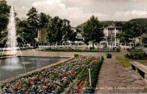 AK / Ansichtskarte Bad Muenster Stein Ebernburg Kurpark mit Kurhaus Fontaene Kat. Bad Muenster am Stein Ebernburg