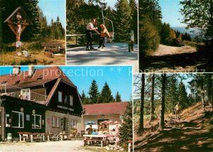 AK / Ansichtskarte Schwaig Moenichkirchen Wegkreuz Alpengasthof zum Enzian Kat. Moenichkirchen am Wechsel