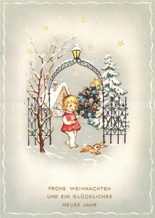 AK / Ansichtskarte Weihnachten Neujahr Engel Hase Weihnachtsbaum Kat ...