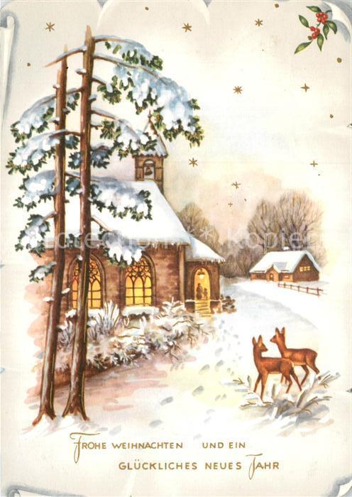 AK / Ansichtskarte Weihnachten Neujahr Kirche Rehe Kat. Greetings Nr ...