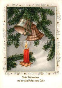 AK / Ansichtskarte Weihnachten Neujahr Kirchenglocken Kerze  Kat. Greetings