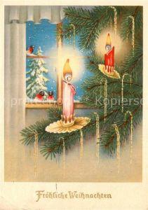 AK / Ansichtskarte Weihnachten Kerzen Voegel  Kat. Greetings