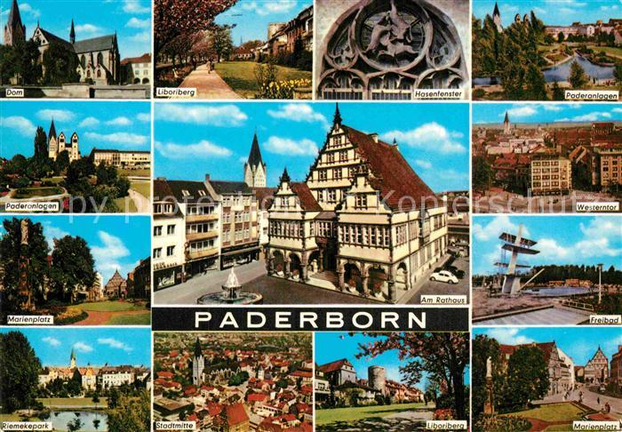 AK / Ansichtskarte Paderborn Dom Liboriberg Hasenfenster Paderanlagen Westerntor Rathaus Marienplatz Park Stadtmitte Kat. Paderborn