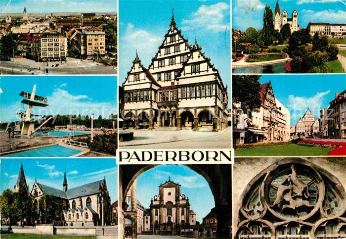 AK / Ansichtskarte Paderborn Stadtpanorama Freibad Dom Rathaus Kirche Paderanlagen Marienplatz Hasenfenster Kat. Paderborn