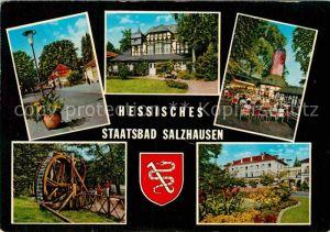 AK / Ansichtskarte Bad Salzhausen Kurhaus Kurkonzert Park Wasserrad Kat. Nidda