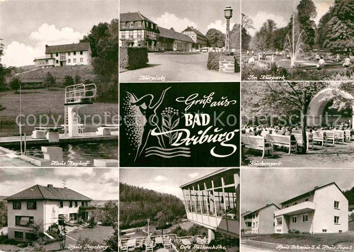 AK / Ansichtskarte Bad Driburg Haus Beykoff Kurplatz Kurpark Kurkonzert Haus Ingeborg Cafe Falkenhoehe  Kat. Bad Driburg