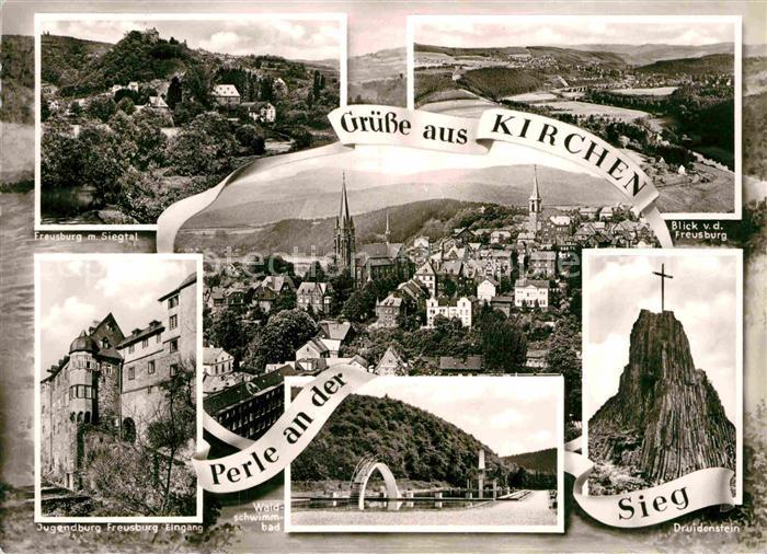 AK / Ansichtskarte Kirchen Sieg Freusburg Panorama Jugendburg Waldschwimmbad Druidenstein Kat. Kirchen (Sieg)