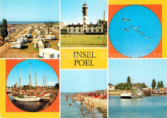 AK / Ansichtskarte Insel Poel Camping Strand Leuchtturm Hafen Strand Anlegestelle Kat. Insel Poel