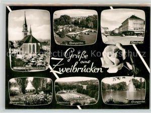 AK / Ansichtskarte Zweibruecken Maxstrasse Schwimmbad Marktplatz Rosengarten  Kat. Zweibruecken