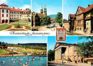 AK / Ansichtskarte Meiningen Thueringen Schloss Schwimmbad Theater Henneberger Haus Kat. Meiningen