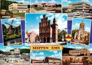 AK / Ansichtskarte Meppen Amtsgericht Schule Kirche Rathaus Windmuehle Sparkasse Kat. Meppen