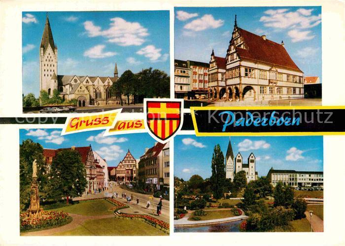 AK / Ansichtskarte Paderborn Hohe Dom Rathaus Marienplatz Paderanlagen Kat. Paderborn