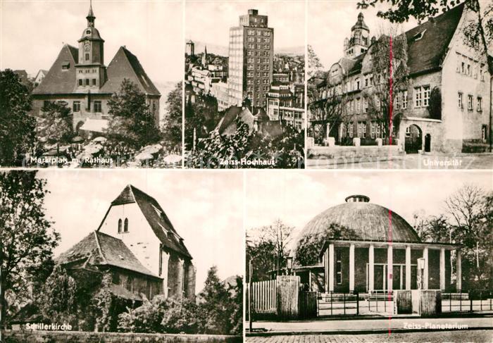 AK / Ansichtskarte Jena Thueringen Schillerkirche Zeiss Planetarium Universitaet Zeiss Hochhaus