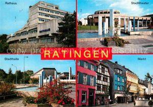 AK / Ansichtskarte Ratingen Rathaus Stadttheater Markt Stadthalle Wasserspiele Kat. Ratingen