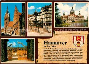 AK / Ansichtskarte Hannover Kirche Brunnen Fachwerkhaeuser Rathaus Schloss Geschichte Wappen Kat. Hannover