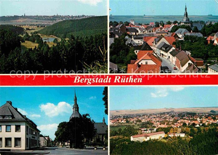 AK / Ansichtskarte Ruethen Moehne Panorama Bergstadt Ortsmotiv mit Kirche Kat. Ruethen