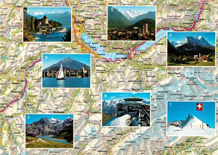 AK / Ansichtskarte Berner Oberland Landkarte Oberhofen Thunersee Interlaken Alpen Spiez Grindelwald Oeschinensee Observatorium Kat. Grindelwald