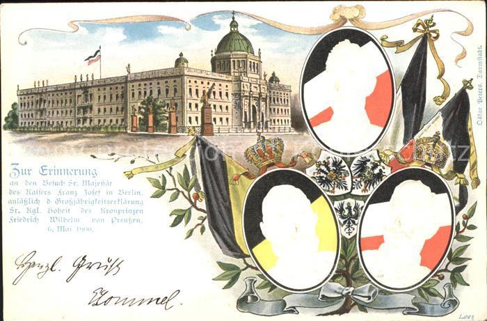 AK / Ansichtskarte Wilhelm II Wilhelm von Preussen Kaiser Franz Josef Erinnerung Grossjaehrigkeitserklaerung Besuch Berlin Kat. Persoenlichkeiten