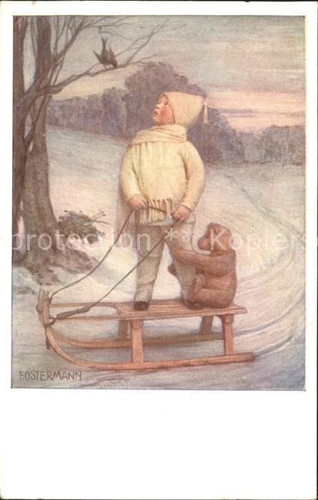 AK / Ansichtskarte Ostermann F. Schlitten Teddybaer Kind Wintermode Nr. 528 Kat. Kuenstlerkarte