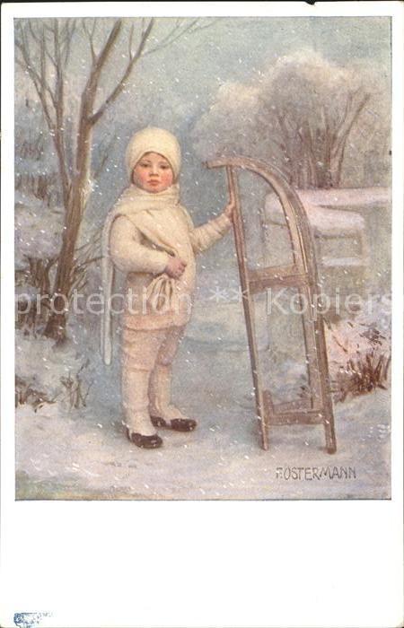 AK / Ansichtskarte Ostermann F. Nr. 528 2 Schlitten Kind Wintermode Schnee Kat. Kuenstlerkarte