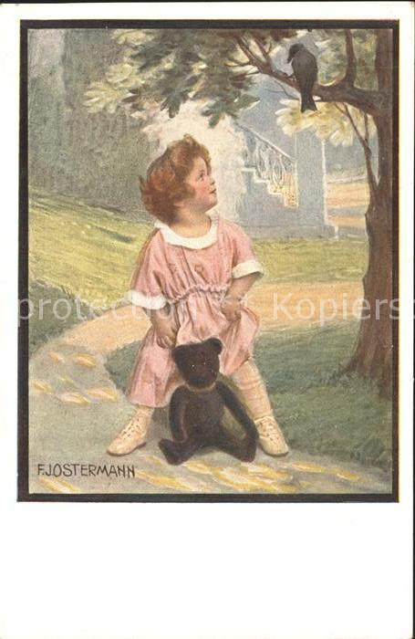 AK / Ansichtskarte Ostermann F. Nr. 527 4 Teddybaer Kind Baum Rabe  Kat. Kuenstlerkarte