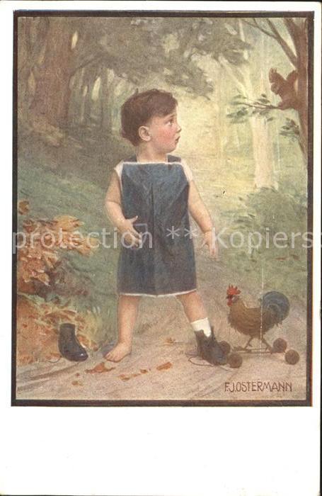 AK / Ansichtskarte Ostermann F. J. Nr. 527 1 Hahn Kind Schuhe Eichhoernchen Kat. Kuenstlerkarte