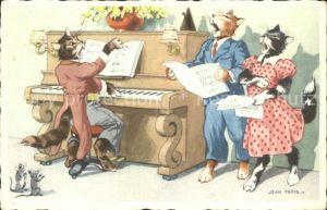 AK / Ansichtskarte Vermenschlicht Katzen Gesang Klavier Maeuse Kuenstlerkarte Jean Paris  Kat. Kuenstlerkarte