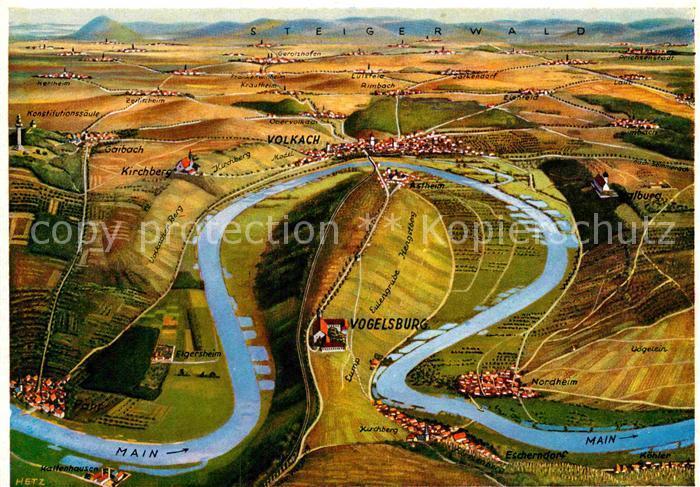AK / Ansichtskarte Vogelsburg Volkach Panoramakarte mit Mainschleife Kat. Volkach