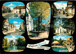 AK / Ansichtskarte Horn Lippe Hotel Vialon Nordstrasse Externsteine evangelische Kirche Rathaus Kat. Horn Bad Meinberg