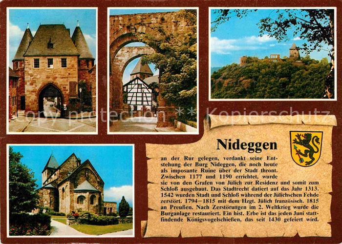 AK / Ansichtskarte Nideggen Eifel Duerener Tor Nixtor Burg Marktplatz Kat. Nideggen