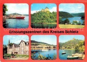 AK / Ansichtskarte Schleiz Saalburg MS Gera Anlegestelle Kuensdorfer Bucht Burgk Museum Walsburg Essbach FDGB Erholungsheim Ziegenrueck Jugendherberge Kat. Schleiz