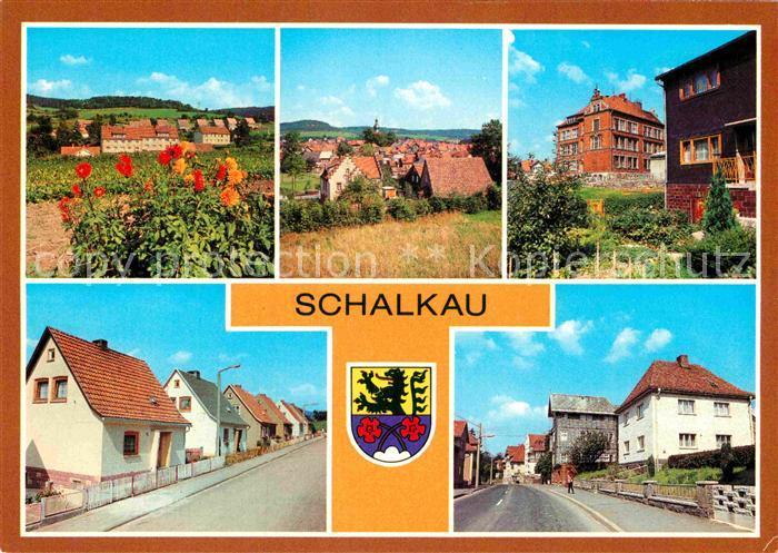 AK / Ansichtskarte Schalkau Siedlung im Grund Polytechnische Oberschule Karl Marx Siedlung Bahnhofstrasse Kat. Schalkau