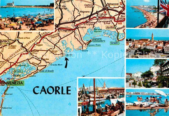 AK / Ansichtskarte Caorle Venezia Carta Automobilistica Spiaggia Strassenkarte Strand Hafen Ortsansicht Kat. Italien
