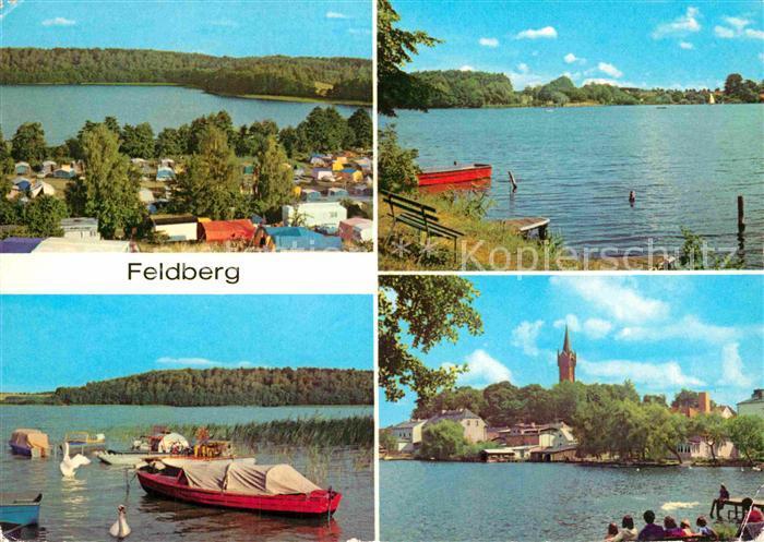 AK / Ansichtskarte Feldberg Mecklenburg Campingplatz Huettenberg am Breiten Luzin Haussee Bootshafen Stadtansicht Kat. Feldberger Seenlandschaft
