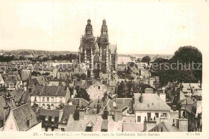 AK / Ansichtskarte Tours Indre et Loire Panorama Cathedrale Saint Gatien Kat. Tours