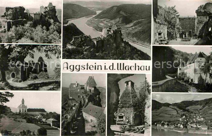 AK / Ansichtskarte Aggstein Burgruine Teilansichten Panorama