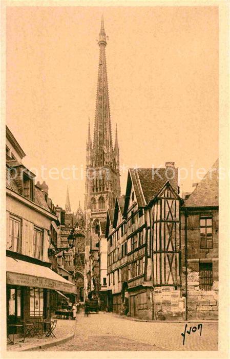 AK / Ansichtskarte Rouen Vieille maisons et la fleche de la cathedrale Kat. Rouen