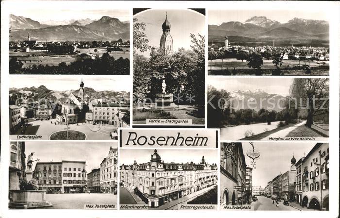 AK / Ansichtskarte Rosenheim Bayern Partie im Stadtgarten Max Josefplatz Ludwigsplatz Panorama Kat. Rosenheim