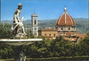 AK / Ansichtskarte Firenze Toscana Panorama dal Giardino dei Boboli Brunnenfigur Kathedrale Santa Maria del Fiore Kat. Firenze