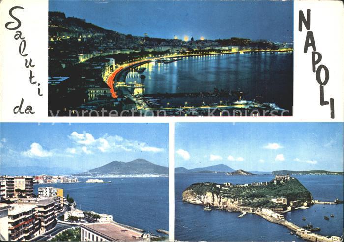 AK / Ansichtskarte Napoli Neapel Hafen Nachtaufnahme Blick zum Vesuv Vulkan Kat. Napoli