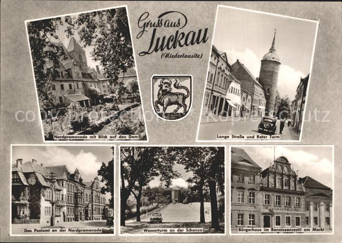 AK / Ansichtskarte Luckau Niederlausitz Promenade Dom Lange Str Roter Turm Postamt Wasserturm Buergerhaus am Markt Kat. Luckau Niederlausitz